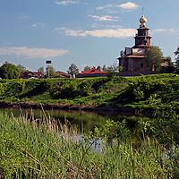 Europe, Russia, Suzdal. Kamenka River and Church of the Transfiguration