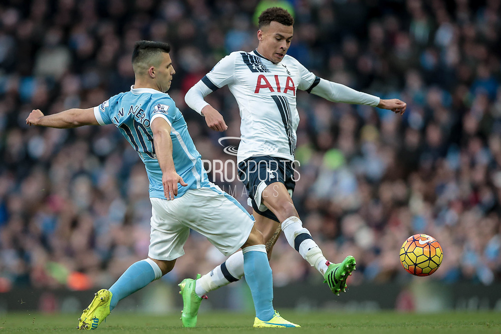 Dele Alli (Tottenham Hotspur) and Sergio Agüero (Manchester City) during the Barclays Premier League match between Manchester City and Tottenham Hotspur at the Etihad Stadium, Manchester, England on 14 February 2016. Photo by Mark P Doherty.