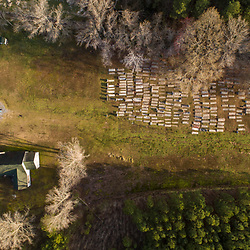 Drone view of the historic Malone Methodist Episcopal Church and the adjacent Harrisville Malone Cemetery in Madison, Maryland. Spring.