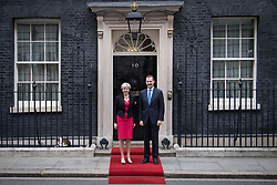 Prime Minister Theresa May welcomes King Felipe VI of Spain to 10 Downing Street, London, during the King's State Visit to the UK.