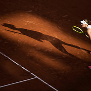 PARIS, FRANCE June 10. Barbora Krejcikova of the Czech Republic during her match against Maria Sakkari of Greece as the early evening shadows creep across Court Philippe-Chatrier during the semi finals of the Women's singles competition at the 2021 French Open Tennis Tournament at Roland Garros on June 10th 2021 in Paris, France. (Photo by Tim Clayton/Corbis via Getty Images)