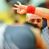 012815  Adron Gardner/Independent<br /> <br /> Referee Eric Romero watches intently during a wrestling match at Miyamura High School in Gallup Wednesday.