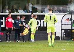 Dunfermline's keeper Sean Murdoch off injured. Dunfermline 1 v 2 Falkirk, Scottish Championship game played 22/4/2017 at Dunfermline's home ground, East End Park.