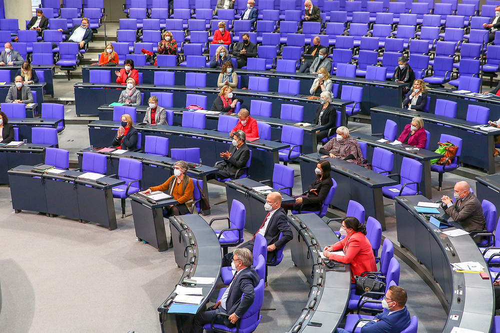 A general view of the plenary hall during a session dealing with the coronavirus vaccination operation in Germnay at the Bundestag in Berlin, Germany, January 13, 2021.