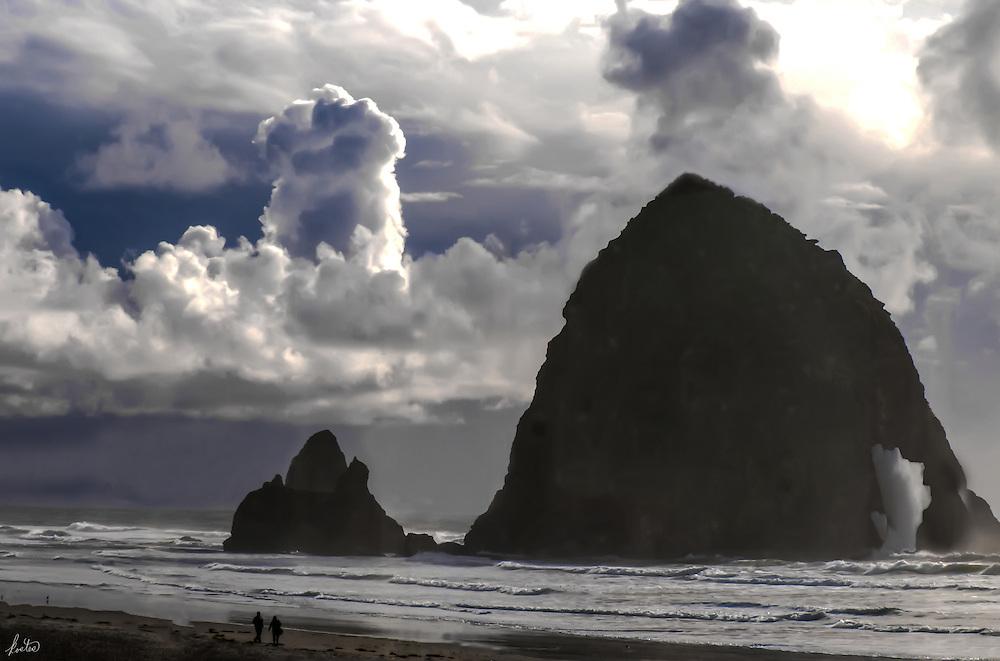 Some unusual cloud formations over Haystack Rock, Cannon Beach, Oregon