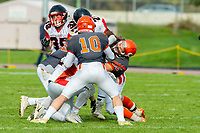 KELOWNA, BC - OCTOBER 6: JJ Heaton #62 and Conor Richard #10 of Okanagan Sun try to tackle a player of the VI Raides at the Apple Bowl on October 6, 2019 in Kelowna, Canada. (Photo by Marissa Baecker/Shoot the Breeze)