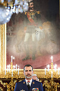 032317 King Felipe VI attends a military audiences at Royal Palace