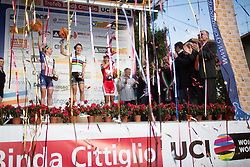 Megan Guarnier, Lizzie Armitstead (both Boels-Dolmans Cycling Team) and Jolanda Neff (Servetto-Footon) celebrate on the top of the podium of the Trofeo Alfredo Binda - a 123.3km road race from Gavirate to Cittiglio on March 20, 2016 in Varese, Italy.