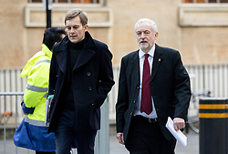 © Licensed to London News Pictures. 13/11/2016. London, UK. Leader of the Labour Party Jeremy Corbyn MP and political aide Seamus Milne (left) arriving at the Andrew Marr Show today. The show has been heavily criticised for screening a pre-recorded interview with far-right politician Marine Le Pen, who associates with Le Front National (The National Front). Photo credit : Tom Nicholson/LNP