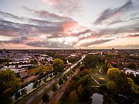 Aerial view above of residential neighborhood, Deventer, Netherlands.