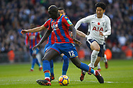 Mamadou Sakho of Crystal Palace (c goes past Son Heung-min of Tottenham Hotspur (R). Premier league match, Tottenham Hotspur v Crystal Palace at Wembley Stadium in London on Sunday 5th November 2017.<br /> pic by Steffan Bowen, Andrew Orchard sports photography.