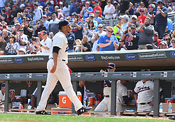 May 2, 2018 - Minneapolis, MN, U.S. - MINNEAPOLIS, MN - MAY 02: Minnesota Twins Pitcher Fernando Romero (77) leaves to a standing ovation in his 1st Major League start during a MLB game between the Minnesota Twins and Toronto Blue Jays on May 2, 2018 at Target Field in Minneapolis, MN.The Twins defeated the Blue Jays 4-0.(Photo by Nick Wosika/Icon Sportswire) (Credit Image: © Nick Wosika/Icon SMI via ZUMA Press)