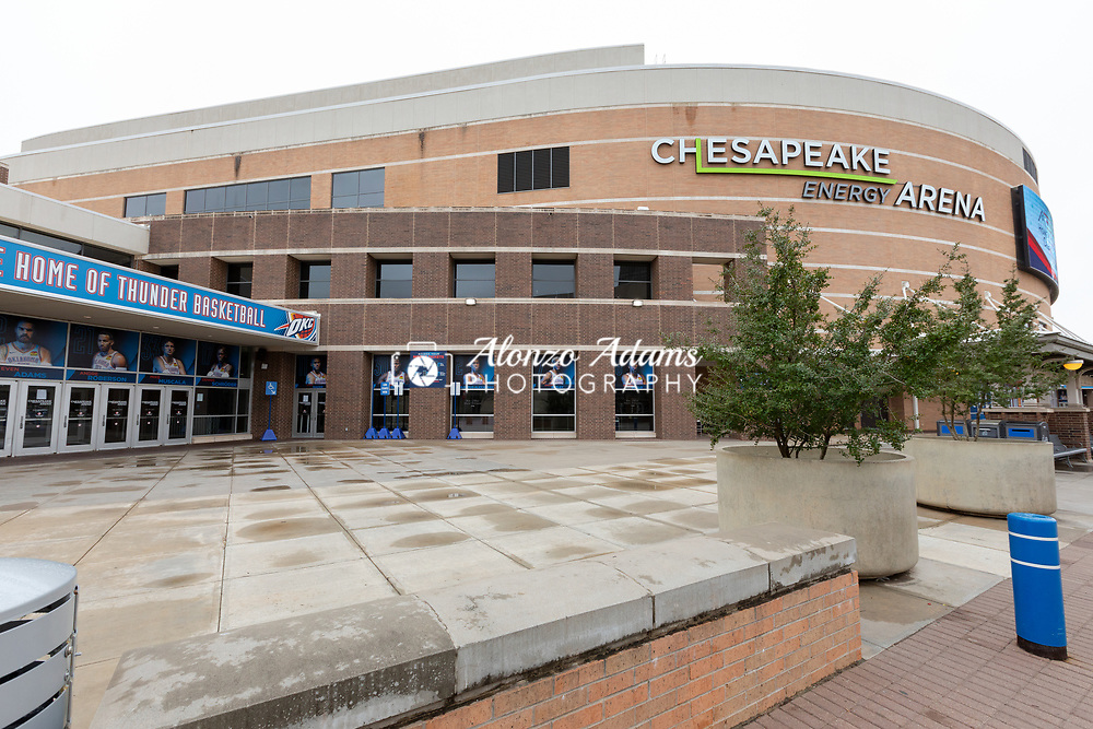 The Chesapeake Energy Arena in Oklahoma City sits empty on Sunday, March 15, 2020 after the NBA and concert promoters postpones and cancels games and events. The Chesapeake Energy Arena is home to the NBA's Oklahoma City Thunder. Photo copyright © 2020 Alonzo J. Adams.