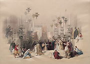 Stone of Unction, Church of the Holy Sepulchre, Jerusalem Color lithograph by David Roberts (1796-1864). An engraving reprint by Louis Haghe was published in a the book 'The Holy Land, Syria, Idumea, Arabia, Egypt and Nubia. in 1855 by D. Appleton & Co., 346 & 348 Broadway in New York.
