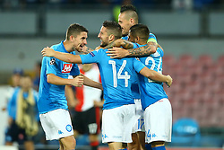 September 26, 2017 - Naples, Campania, Italy - Jorginho, Marek Hamsik, Lorenzo Insigne and Dries Mertens of Napoli celebration  during the UEFA Champions League group F match between SSC Napoli and Feyenoord at Stadio San Paolo on September 26, 2017 in Naples, Italy. (Credit Image: © Matteo Ciambelli/NurPhoto via ZUMA Press)