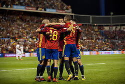 October 6, 2017 - Alicante, Spain - Celebration of the goal of the Spanish team during the qualifying match for the World Cup Russia 2018 between Spain and Albaniaat the Jose Rico Perez stadium in Alicante, Spain on October 6, 2017. (Credit Image: © Jose Breton/NurPhoto via ZUMA Press)
