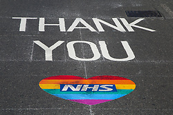 © Licensed to London News Pictures. 15/05/2020. London, UK.  A 'THANK YOU NHS' sign on a north London road to show appreciation for the efforts of  NHS staff, carers and key workers during the COVID-19 pandemic. Photo credit: Dinendra Haria/LNP