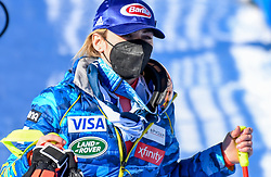 15.02.2021, Cortina, ITA, FIS Weltmeisterschaften Ski Alpin, Alpine Kombination, Damen, Super G, im Bild Mikaela Shiffrin (USA) // Mikaela Shiffrin of the USA reacts after the Super G competition for the women's alpine combined of FIS Alpine Ski World Championships 2021 in Cortina, Italy on 2021/02/15. EXPA Pictures © 2021, PhotoCredit: EXPA/ Erich Spiess