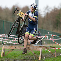 Danny McDonald from Burren CC leaping over the obstacles at the Ennis CX Cyclocross Race at Lees Rd, Ennis