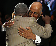 ATLANTA, GA - MAY 14:  Former pitcher Don Newcombe (right) hugs Hall of Famer Hank Aaron during the MLB Beacon Awards Banquet at the Omni Hotel on May 14, 2011 in Atlanta, Georgia.  (Photo by Mike Zarrilli/Getty Images)