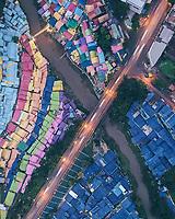 Aerial view of the rainbow village named Kampung Warna Warni Jodipan in Malang city of Java island, Indonesia.