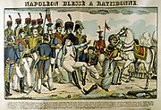 Battle of Ratisbon (Regensburg) 19-23 April 1809. French under Baron de Coutard defeated the Austrians under Archduke Charles.  Napoleon I wounded in the ankle.  Popular French hand-coloured woodcut.