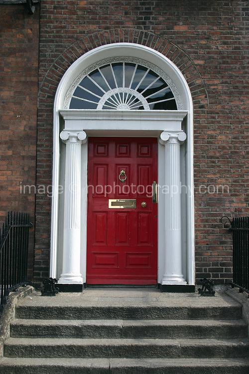 Red georgian door Dublin Ireland