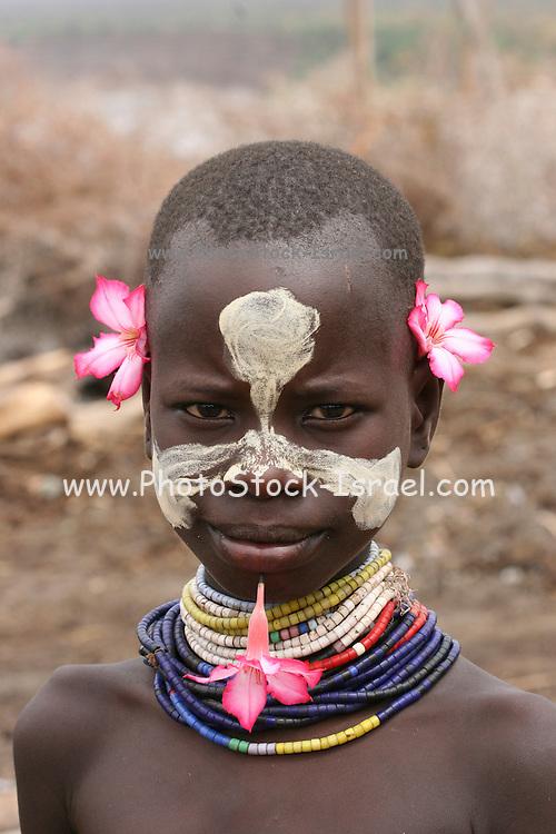 Africa, Ethiopia, Omo Valley, Karo tribesmen portrait of a child