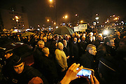 """Dignitaries visit nightime vigil as French and Jews come together to make a vigil outside a Kosher supermarket in Porte Vincennes, Paris, France. Yesterday this Kosher supermarket was the scene of a hostage taking and followed by an armed shoot out between Jihadist gunmen and French police. It ended in a shoot out and with the death of the terrorists. Some hostages were killed and police injured.<br /><br />This event was directly linked to the attack on the offices of Charlie Hebdo, killing twelve people, including the editor and celebrated cartoonists two days before. This week was the deadliest week of terror attacks in France for over fifty years. Charlie Hebdo is a satirical publication well known for its political cartoons. <br /><br />As a solidarity actions with the deaths at Charlie Hebdo many placards read """"Je suis Charlie"""" translating as """"I am Charlie (Hebdo)"""". Demonstrators held aloft pens, brushes and crayons, symbolizing the profession of journalists and cartoonists who were killed."""