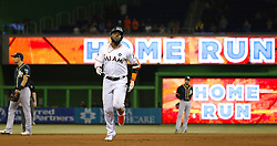 June 13, 2017 - Miami, FL, USA - The Miami Marlins' Marcell Ozuna rounds the bases after hitting a solo home run during the fourth inning against the Oakland Athletics at Marlins Park in Miami on Tuesday, June 13, 2017. The Marlins won, 8-1. (Credit Image: © David Santiago/TNS via ZUMA Wire)