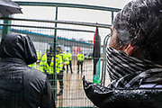 """Leicester, United Kingdom, May 24, 2021: After two """"Palestine Action"""" activists were removed and arrested from the rooftop local communities' have organised a barricade (in picture) and appear to be determined to not let the police leave the area with activists. """"Shut Elbit Down"""", """"Free! Free! Palestine"""" are among the slogans local residents are shouting. (Photo by Vudi Xhymshiti)"""