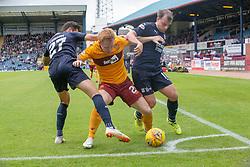 Dundee's Jesse Curran, Motherwell's Danny Johnson and Dundee's Paul McGowan. Dundee 1 v 3 Motherwell, SPFL Ladbrokes Premiership game played 1/9/2018 at Dundee's Kilmac stadium Dens Park