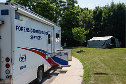 July 4, 2018 - Toronto, CAN., 04 Jul 2018 - Toronto Police have returned on July 4th, 2018 to a residence on Mallory Crescent in Toronto in search of additional evidence against accused serial killer Bruce McArthur, 66. The site was the location where the self-employed landscaper is alleged to have dismembered and disposed of seven of his victims by putting the remains in planters that were scattered over 30 sites between 2010 and his arrest on January 18, 2018 (Credit Image: © Victor Biro via ZUMA Wire)