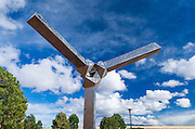 Statue at the Very Large Array (VLA) visitor center, Plains of San Agustin, Socorro, New Mexico USA
