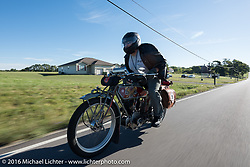 Kelly Modlin of Kansas riding his 1914 Excelsior during the Motorcycle Cannonball Race of the Century. Stage-4 from Chillicothe, OH to Bloomington, IN. USA. Tuesday September 13, 2016. Photography ©2016 Michael Lichter.
