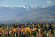 A view from the Swan Mountain Range looking west toward the Mission Range during the fall in the Seeley-Swan Valley, Montana.