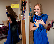 Miss Teen Wyoming Sydney Graus reacts after unboxing a gown she will wear to the Miss Teen USA Pageant at the Atlantis Resort in Nassau Bahamas.