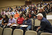 Purchase, NY – 31 October 2014. The audience awaiting the results of hte judging. The Business Skills Olympics was founded by the African American Men of Westchester, is sponsored and facilitated by Morgan Stanley, and is open to high school teams in Westchester County.