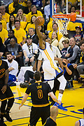 Golden State Warriors forward Kevin Durant (35) dunks over the Cleveland Cavaliers during Game 2 of the NBA Finals at Oracle Arena in Oakland, Calif., on June 4, 2017. (Stan Olszewski/Special to S.F. Examiner)