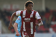 Sido Jombati of Cheltenham Town in action. Skybet football league two match, Cheltenham Town v Torquay Utd at the Abbey Business stadium, Whaddon Rd in Cheltenham on Saturday 15th March 2014.<br /> pic by Mark Hawkins, Andrew Orchard sports photography.