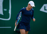 Yulia Putintseva of Kazaksthan in action during her second-round match at the 2019 Nature Valley Classic WTA Premier tennis tournament