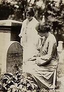Anita Pollitzer and Alice Paul at Susan B. Anthony's gravesite 1923.