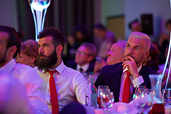 CARDIFF, WALES - Wednesday, June 1, 2016: Wales' Joe Allen and Aaron Ramsey during a charity send-off gala dinner at the Vale Resort Hotel ahead of the UEFA Euro 2016. (Pic by David Rawcliffe/Propaganda)