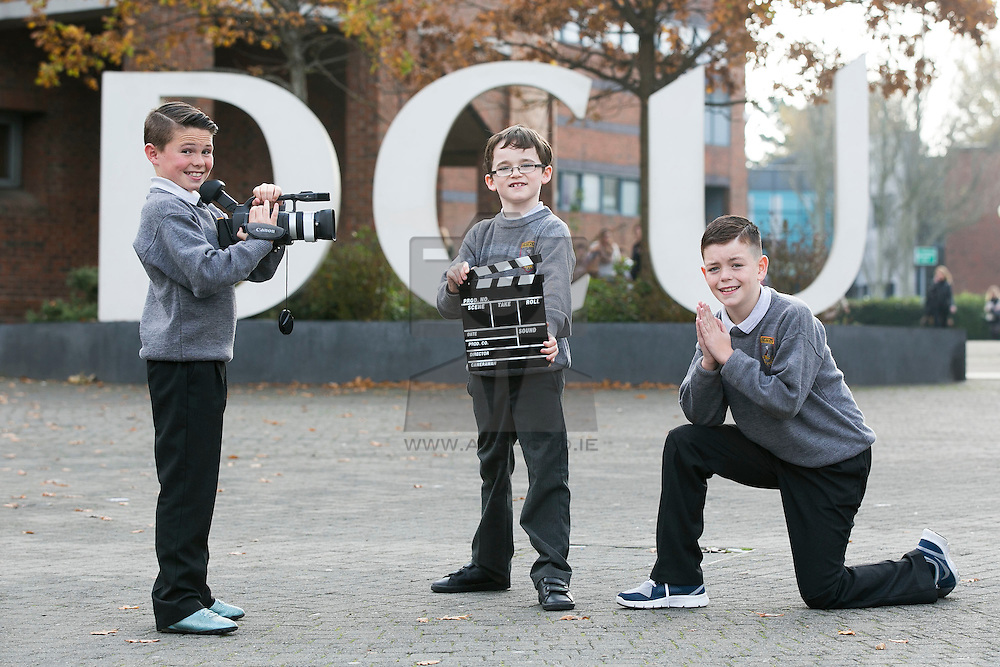 """Repro FRee: 03/11/2015 Pictured at the 11th FÍS Film Festival are students Kellan Meradith, David Sewarde and Ryan Quinn from, St. Peter's Boys NS Monasterevin, who received the Award for 'Outstanding Achievement in Storyboarding', for their film """"Saved All But One"""", at a ceremony in the Helix, Dublin, 3 November."""
