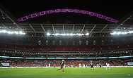 The Famous Floodlit pink Arch at Wembley Stadium during the 2nd half of the game<br /> - Womens International Football - England vs Germany - Wembley Stadium - London, England - 23rdNovember 2014  - Picture Robin Parker/Sportimage