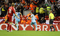 Photo: Paul Greenwood.<br />Liverpool v Marseille. UEFA Champions League, Group A. 03/10/2007.<br />Marseille's Mathieu Valbuena (C) celebrates his goal