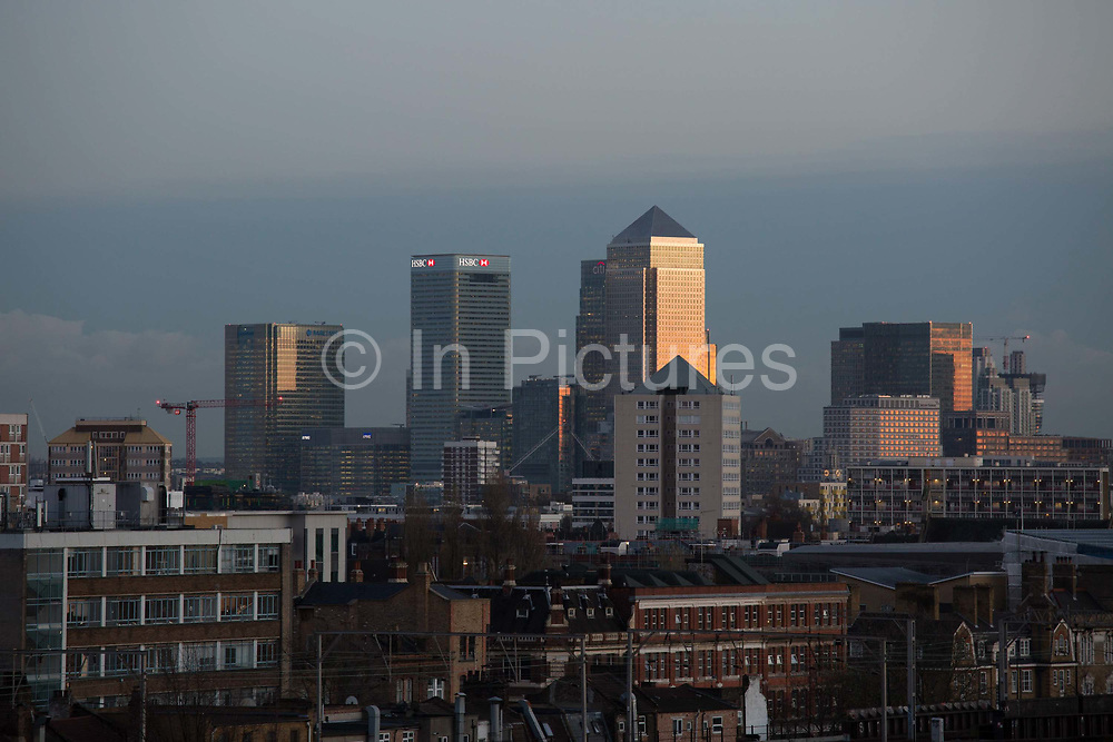 The view of the Isle of Dogs 20th November 2015. Canary Wharf on the Isle of Dogs is one of Londons financial districts and it is surrounded by housing and council estates in the boroughs of Tower Hamlets.
