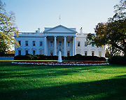 North portico of the White House, Washington, District of Columbia.