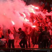 S.B. Elazigspor's supporters with torches during their Turkish superleague soccer match S.B. Elazigspor between Fenerbahce at the Ataturk stadium in izmir Turkey on Saturday 18 August 2012. Photo by TURKPIX