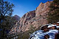 Zion National Park Landscape image of cliffs in the winter, Zion Utah